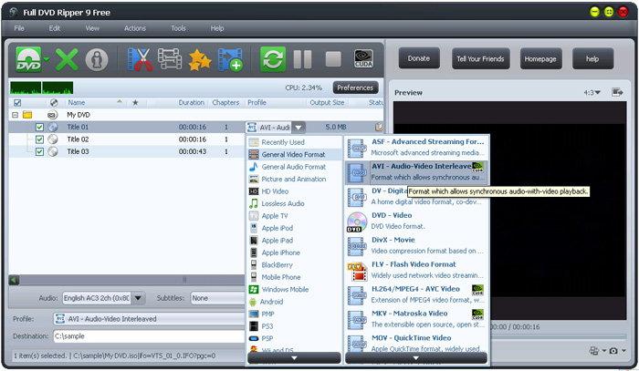 Full DVD Ripper Pro Software Interface: Generic Video Converter