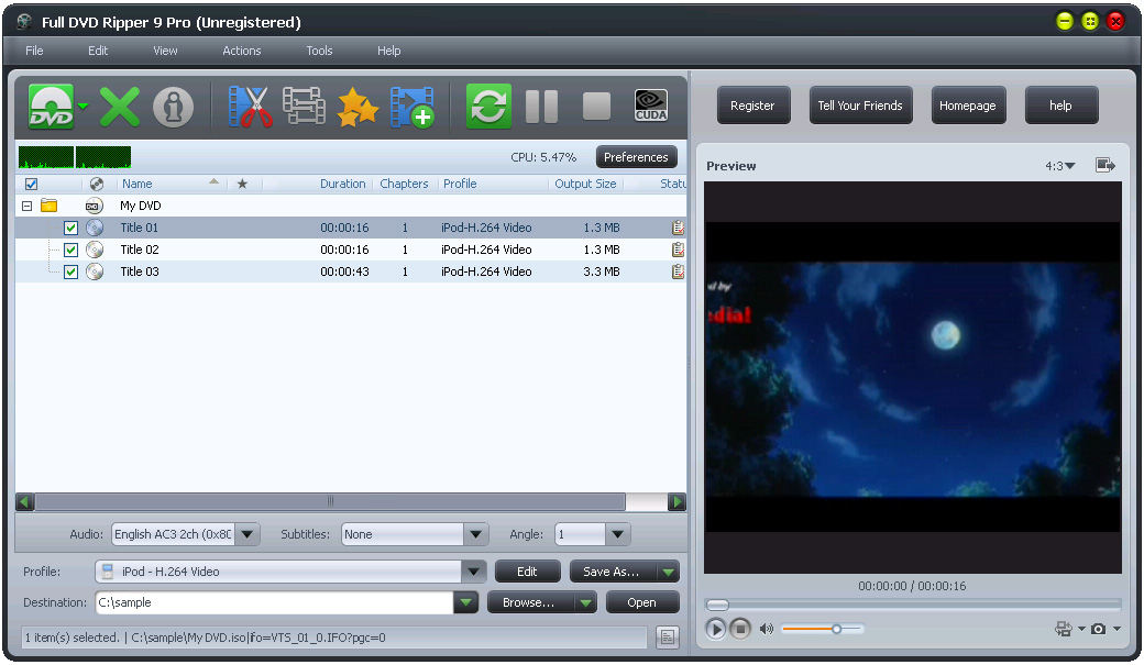 Full DVD Ripper Free 9.32 Screen shot